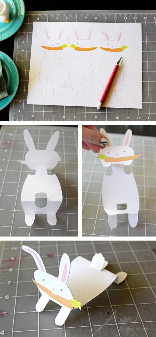 Bunny Name Cards printable for Easter Celebration (tutorial) by Brenda Ponnay for Alphamom.com