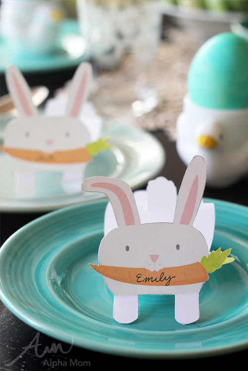 Bunny Name Cards (printable) for Easter Celebration by Brenda Ponnay for Alphamom.com
