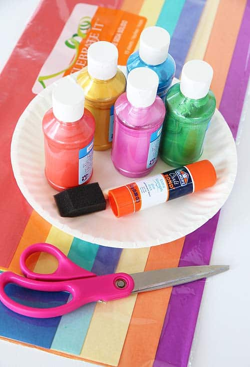 supplies for hanging rainbow craft (paper paint glue scissors)