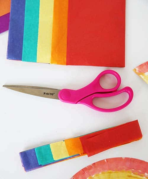 cut rainbow colored tissue paper