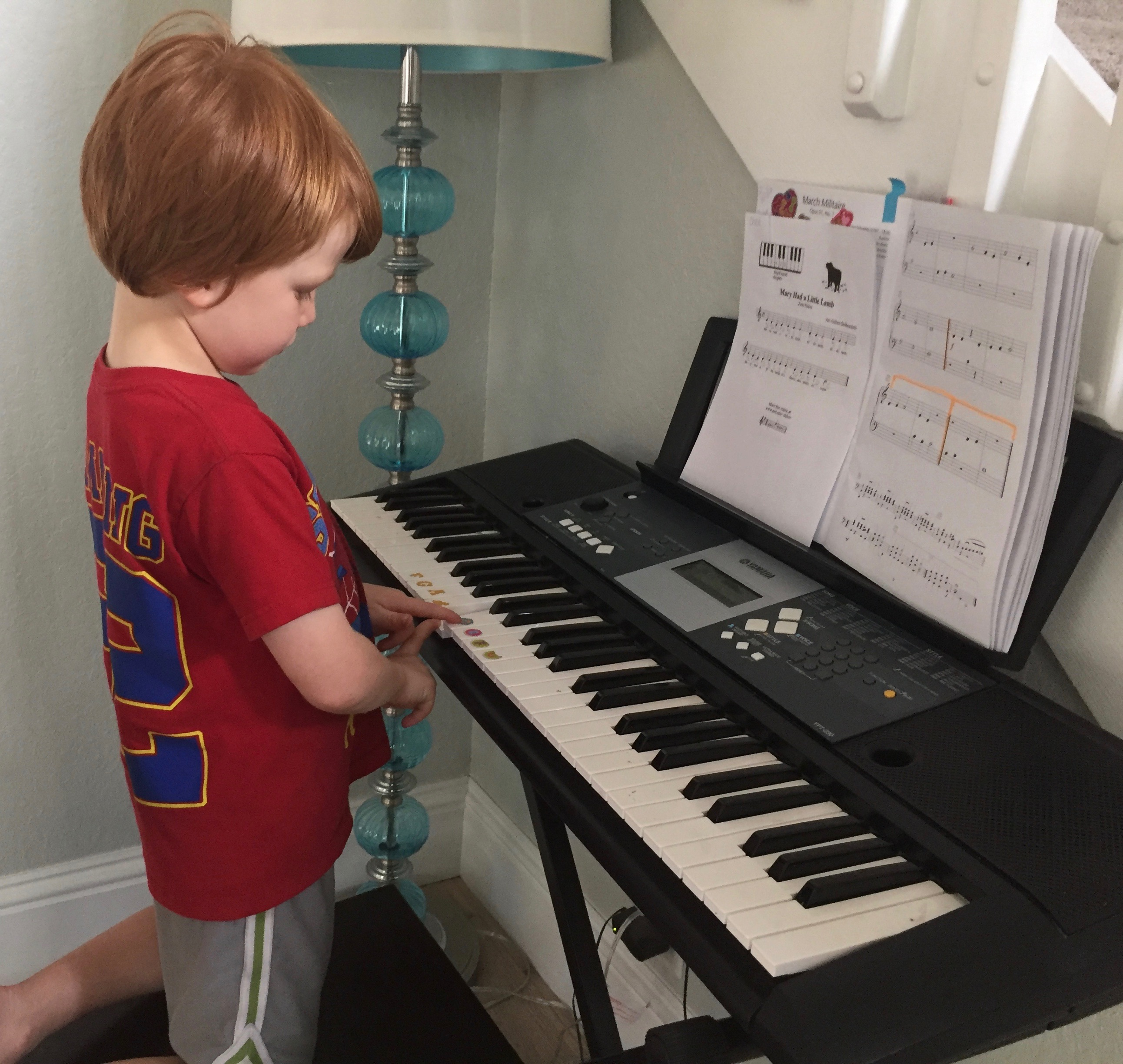 Chase playing keyboard