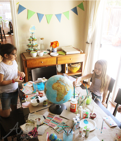 Earth Day crafting party with kids