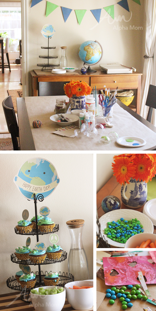 Earth Day Crafting Party by Brenda Ponnay for Alphamom.com (party set up)