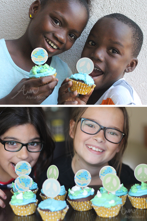 Earth Day Cupcake Toppers Printable by Brenda Ponnay for Alphamom.com