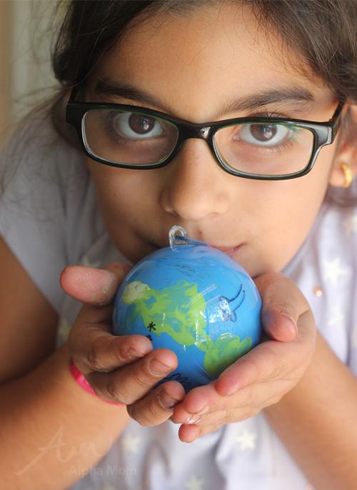 Earth Day Craft Globe Ornament by Brenda Ponnay for Alphamom.com