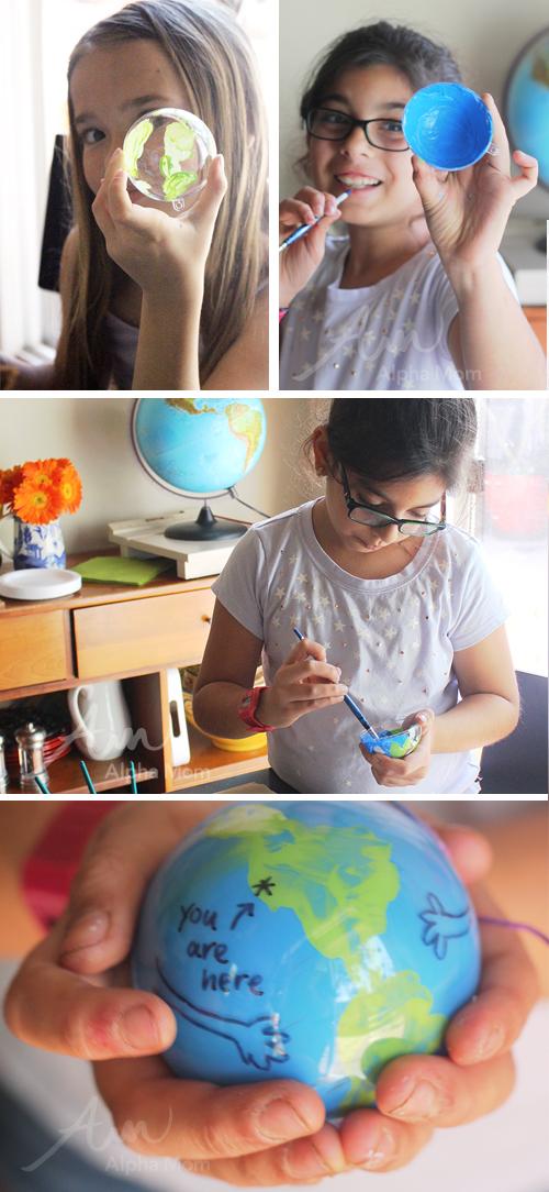 Earth Day Globe Ornament Craft by Brenda Ponnay for Alphamom.com (tutorial)