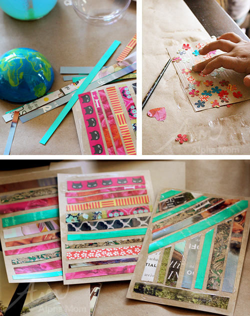 Making Earth Day recycled art postcards