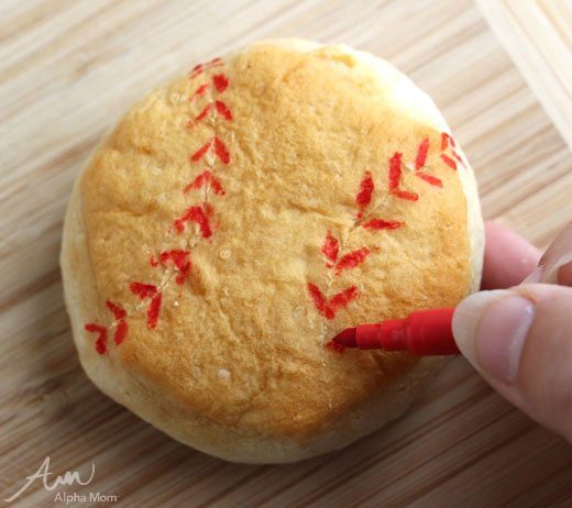 "Baseball-Themed Lunch for Little League Season (biscuits into ""baseballs"" tutorial) by Wendy Copley for Alphamom.com"