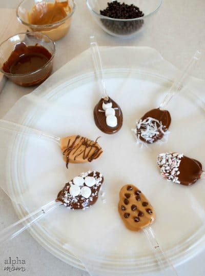 chocolate covered spoons on a plate