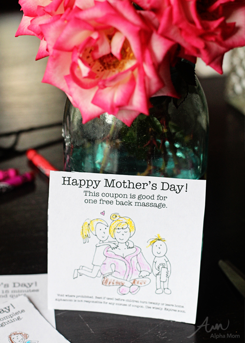 Printable Mother's Day Gift Coupons (back massage) from the Kids by Brenda Ponnay for Alphamom.com