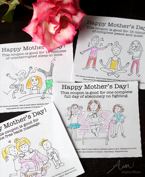 Printable Mother's Day Gift Coupons from the Kids by Brenda Ponnay for Alpha Mom