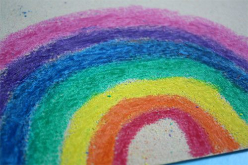 rainbow colored on sandpaper