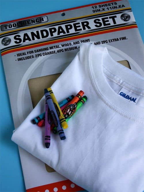 supplies for sandpaper printed t-shirt (crayons, white tee, sand paper)