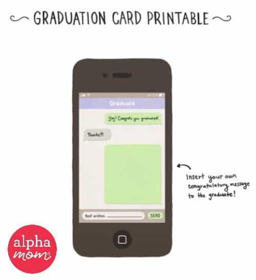 iPhone Graduation Card Printable by Lauren Hom for Alphamom.com