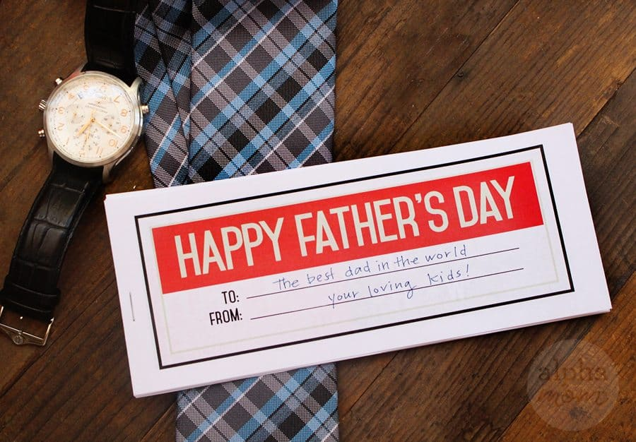 Father's day coupon, a watch and tie
