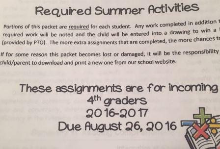 required summer activities information flier