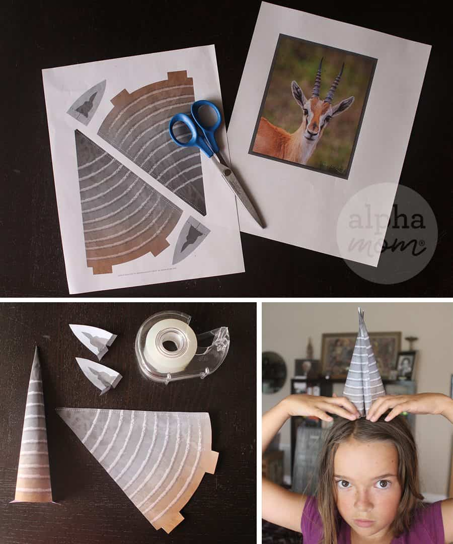 Gazelle Costume for Crazy Hair Day and Halloween by Brenda Ponnay for Alphamom.com (printables)