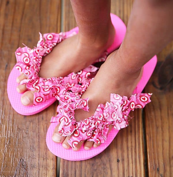 fabric decorated flip flops