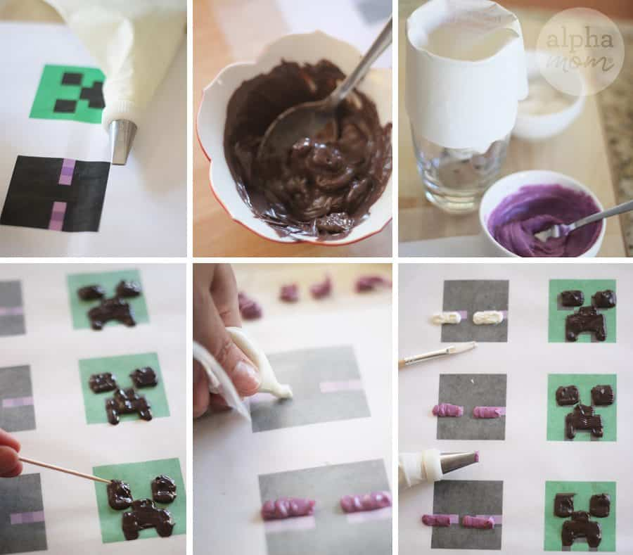 Minecraft Pops Recipe (Tutorial: making candy faces) by Brenda Ponnay for Alphamom.com