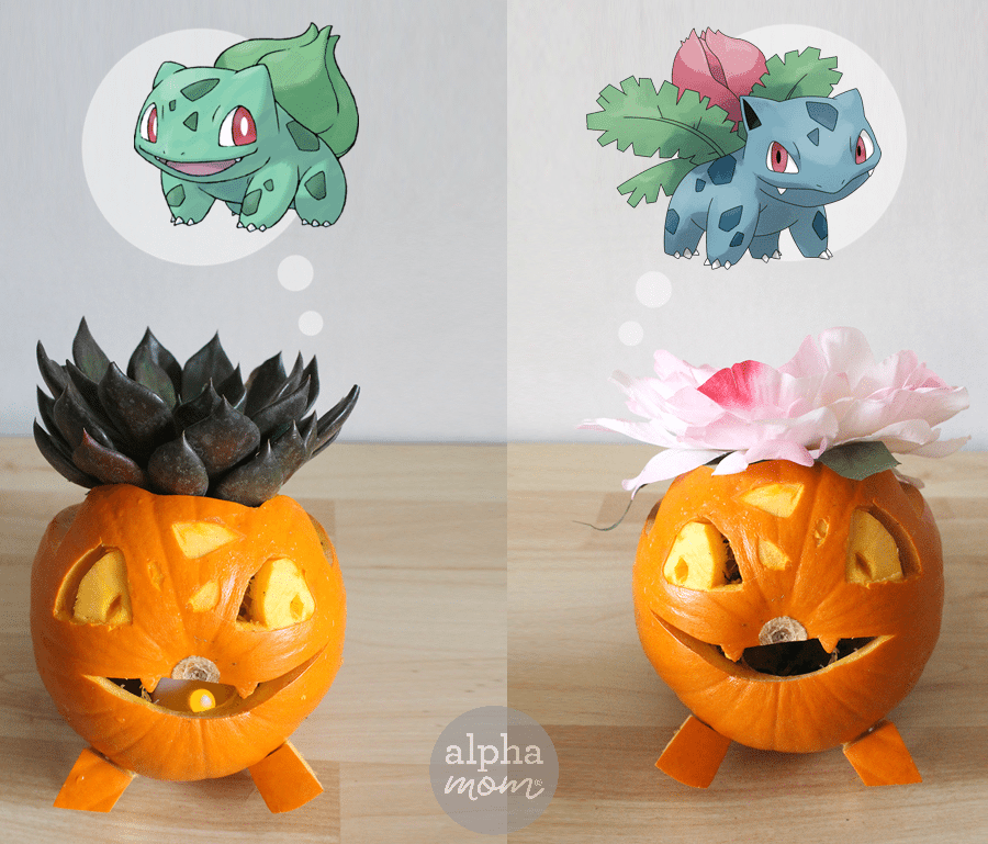 Pokemon Go Halloween: Bulbasaur & Ivysaur Jack-O'-Lanterns by Brenda Ponnay for Alphamom.com