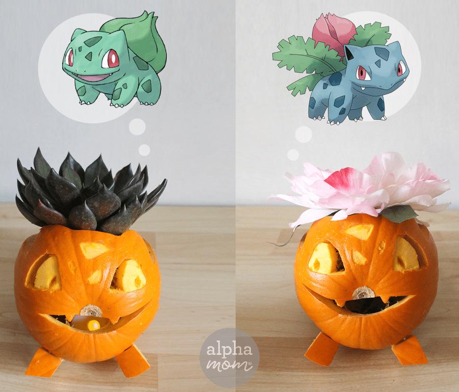 Pokemon Go Halloween: Bulbasaur & Ivysaur Jack-O'-Lanterns by Brenda Ponnay for Alphamom.com