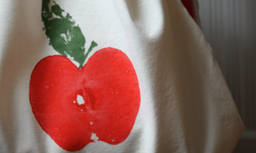 Back-to-School Craft: Apple Print Backpack by Ellen Luckett Baker for Alphamom.com