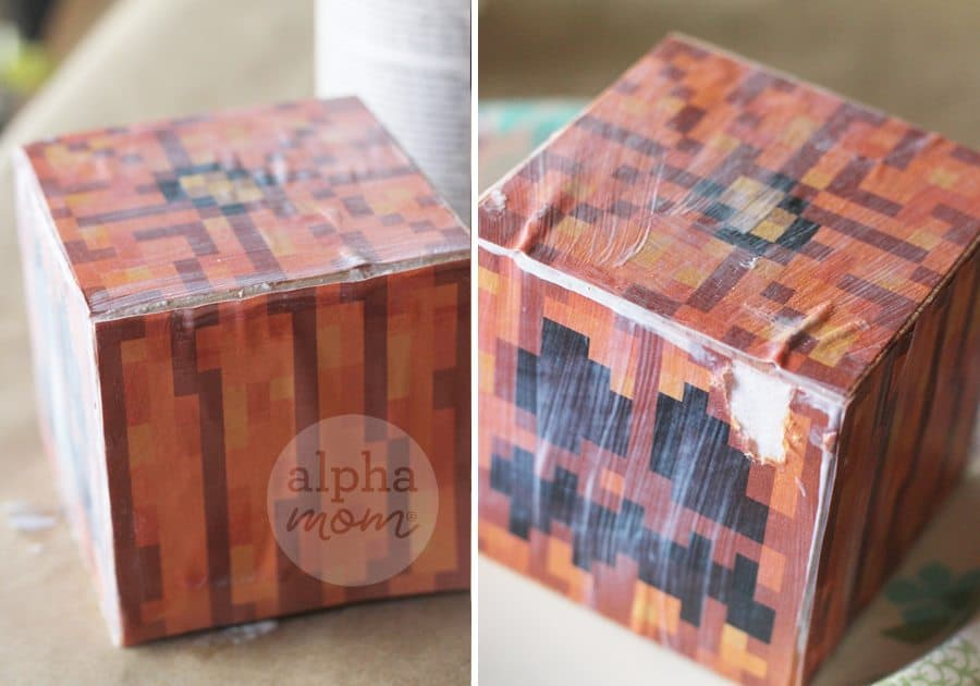 Minecraft Jack o' Lantern Blocks for Halloween! by Brenda Ponnay for Alphamom.com (let the blocks dry completely)
