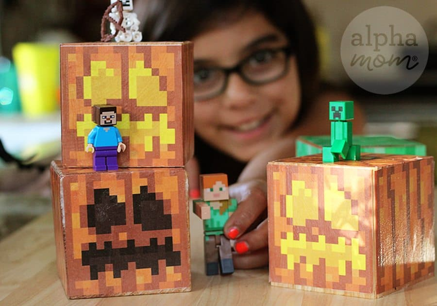 Minecraft Jack o' Lantern Blocks for Halloween! by Brenda Ponnay for Alphamom.com
