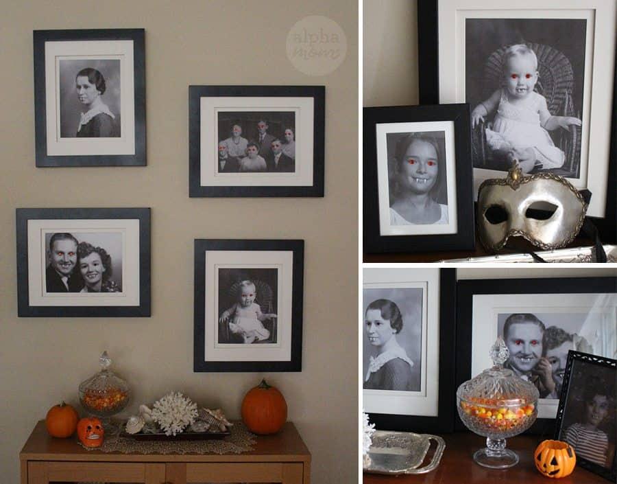 Freaky Family Vampire Portraits for a Spooky Halloween (framed portraits) by Brenda Ponnay for Alphamom.com