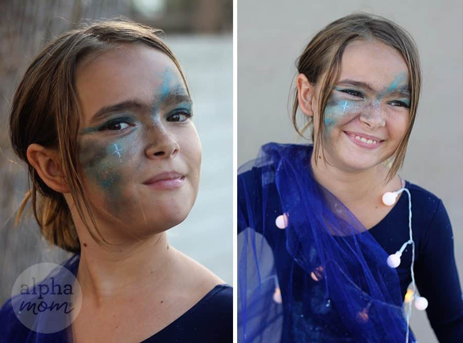 Kids Galaxy Costume for Halloween (tutorial: make-up) by Brenda Ponnay for Alphamom.com