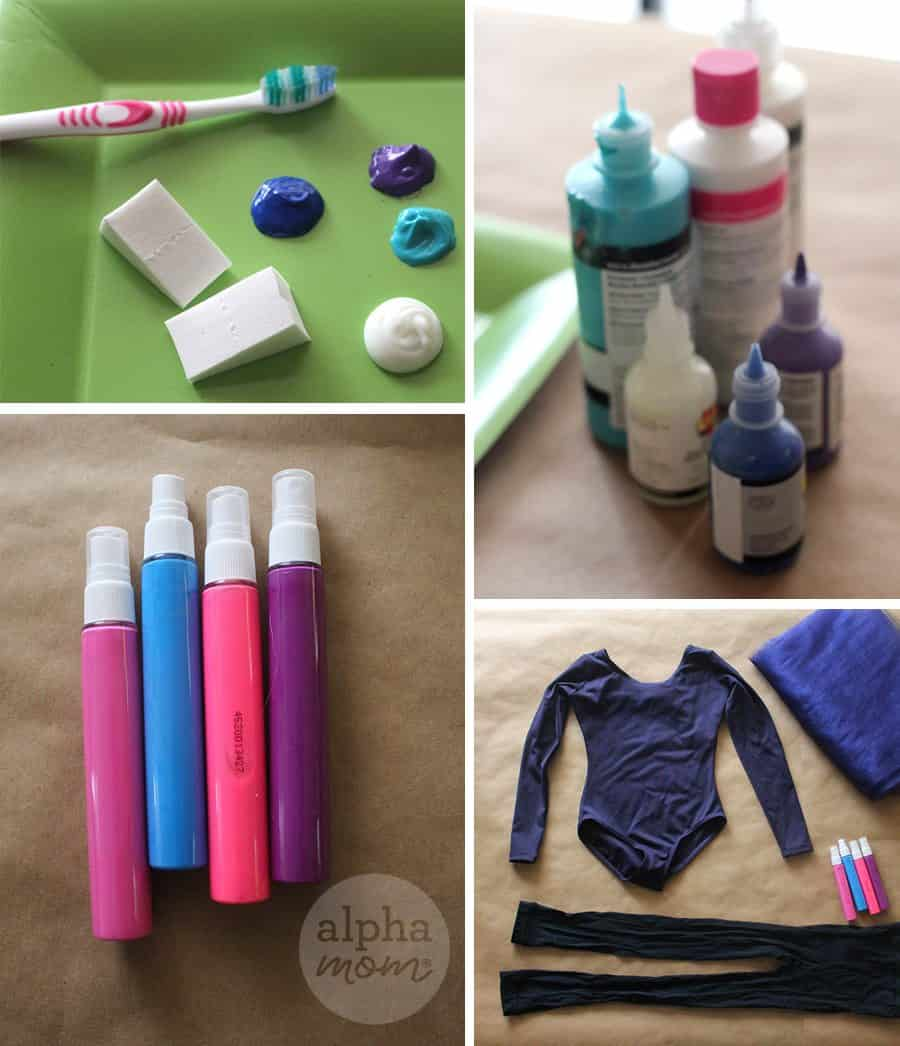 Supplies for DIY Kids Galaxy Costume for Halloween
