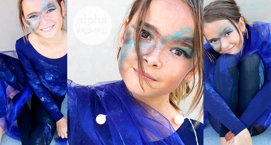 Kids Galaxy Costume for Halloween by Brenda Ponnay for Alphamom.com (make-up too!)