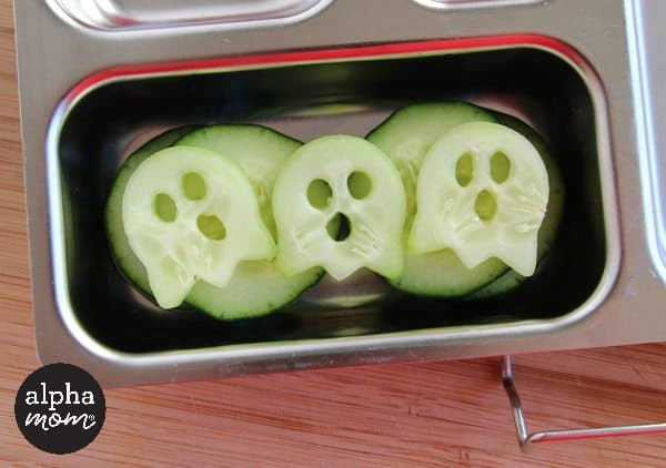 A Spooky Ghost Bento Box for Halloween Lunch (ghost cucumbers) by Wendy Copley for Alphamom.com