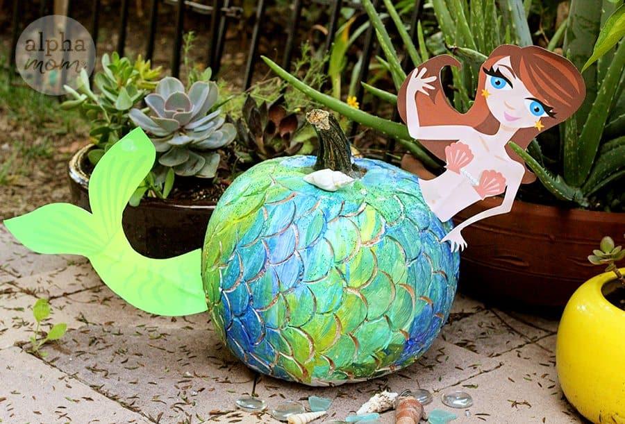 Make a Mermaid Pumpkin for Halloween! (tutorial) by Brenda Ponnay for Alphamom.com