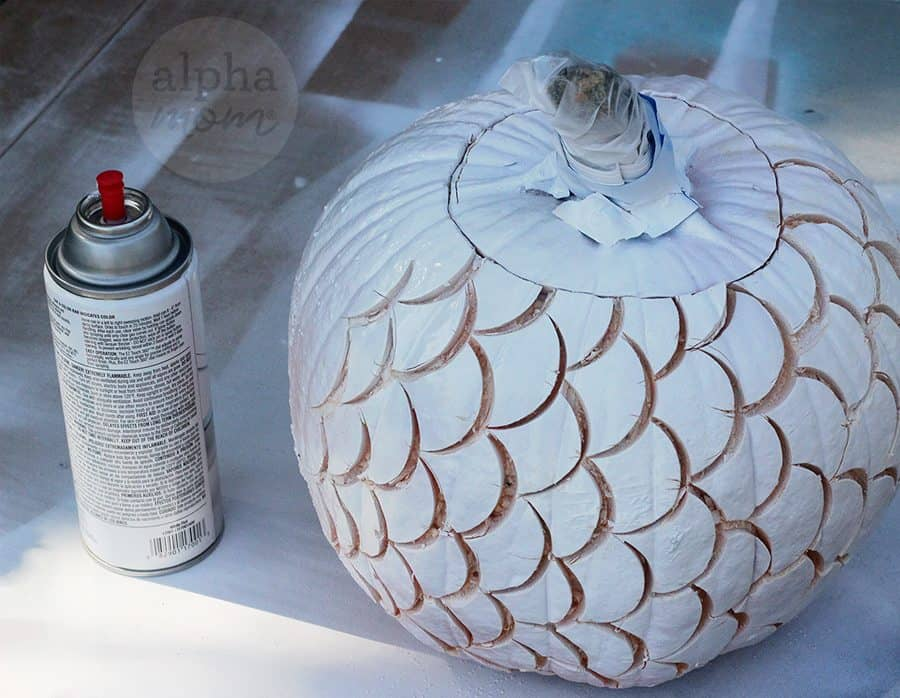 Make a Mermaid Pumpkin for Halloween! (paint primer) by Brenda Ponnay for Alphamom.com