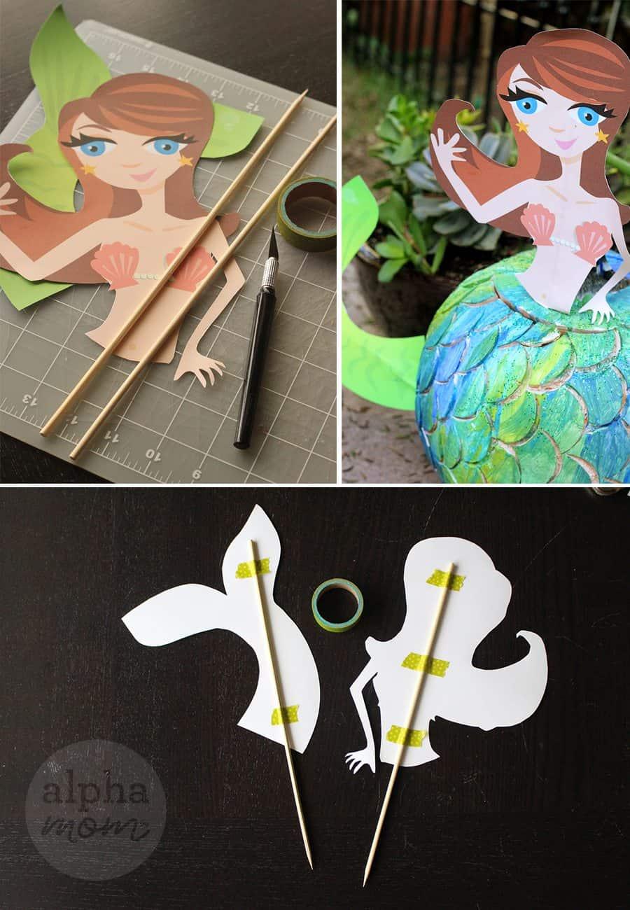Make a Mermaid Pumpkin for Halloween! (printable placement) by Brenda Ponnay for Alphamom.com