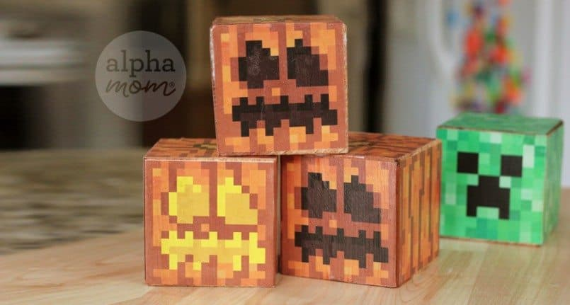 Minecraft Jack o' Lantern Blocks for Halloween by Brenda Ponnay for Alphamom.com
