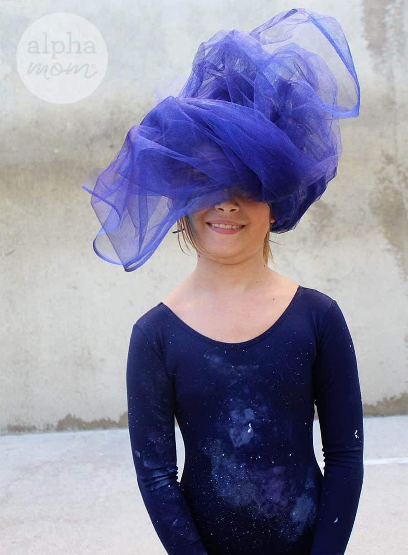 Child Wearing DIY Kids Galaxy Costume for Halloween