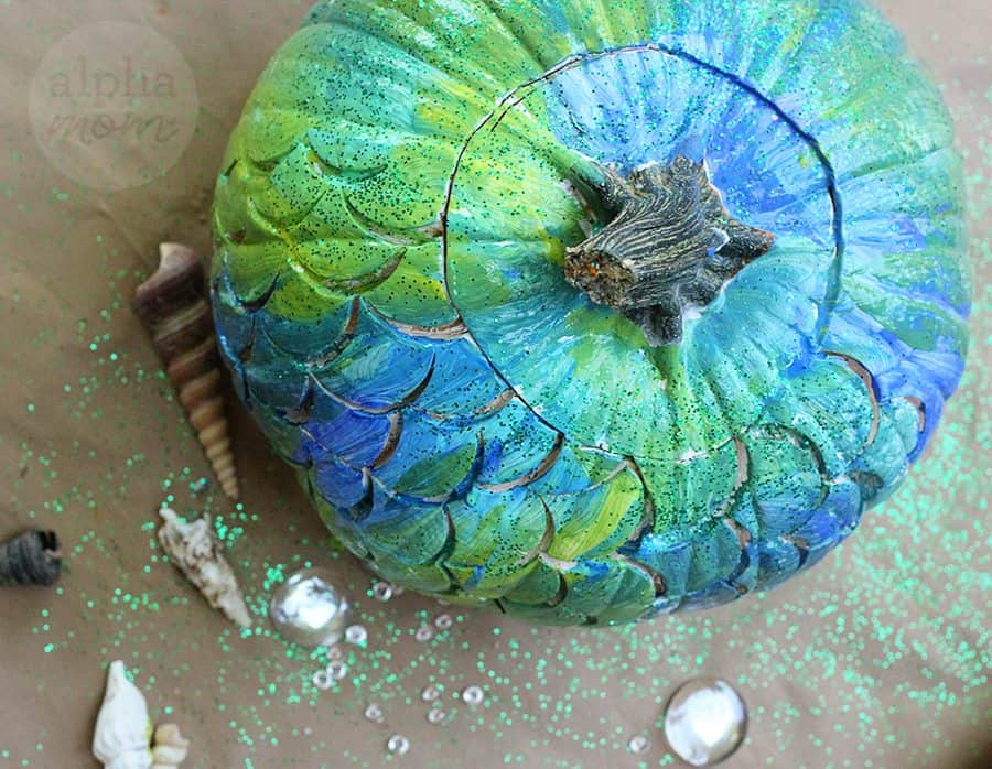 Make a Mermaid Pumpkin for Halloween! (painted & glitter pumpkin) by Brenda Ponnay for Alphamom.com