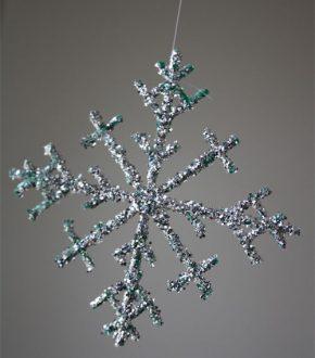 Plastic Berry Baskets into Glittery Snowflake Ornament by Cindy Hopper for Alphamom.com