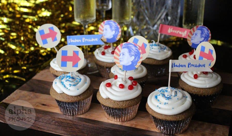Hillary Clinton for President Election Night Party Cupcake Toppers (Madam President)