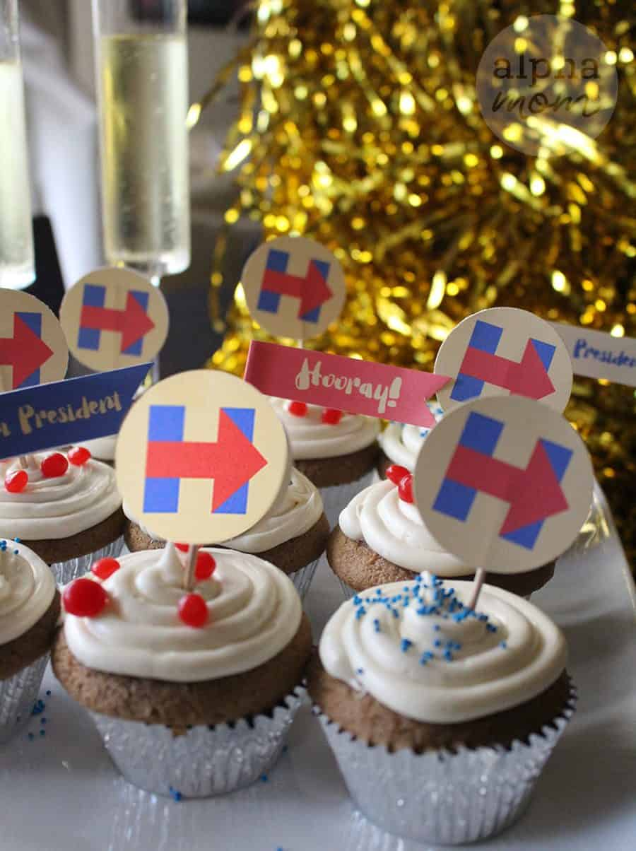 Hillary Clinton for President Election Night Party Cupcake Toppers