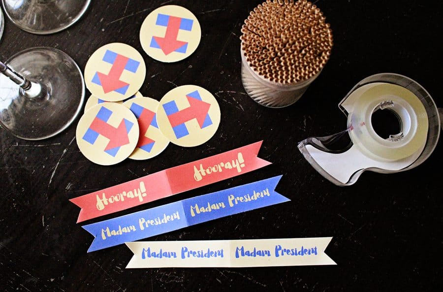 Hillary Clinton for President Election Night Party Cupcake Toppers (supplies)