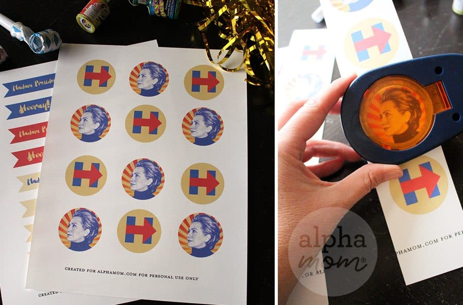 Hillary Clinton for President Election Night Party Cupcake Toppers (steps)
