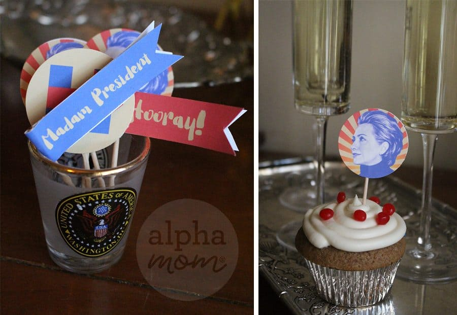 Hillary Clinton for President Election Night Party Cupcake Toppers (flags & toppers)
