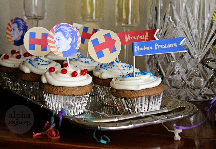 Hillary Clinton for President Election Night Party Cupcake Toppers (party tray)