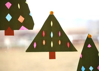 Paper Stained Glass Christmas Trees by Marie LeBaron for Alphamom.com