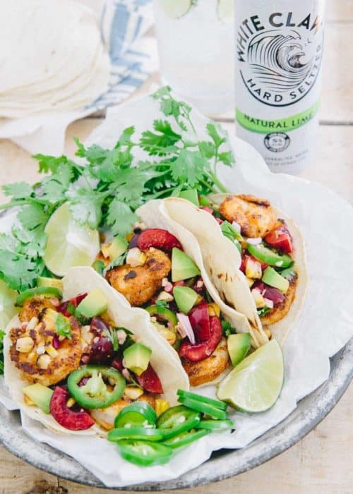 Running to the Kitchen's Blackened Shrimp Tacos with Grilled Corn Cherry Salsa Tacos