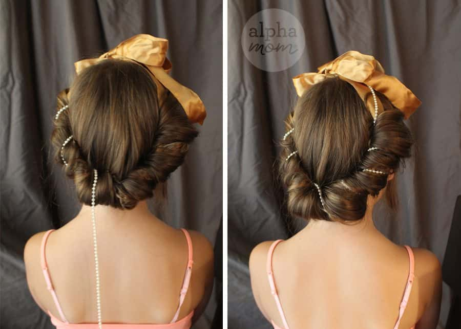 Five-Minute Kids' Holiday Fancy Up-Do Hair (add beads) by Brenda Ponnay for Alphamom.com