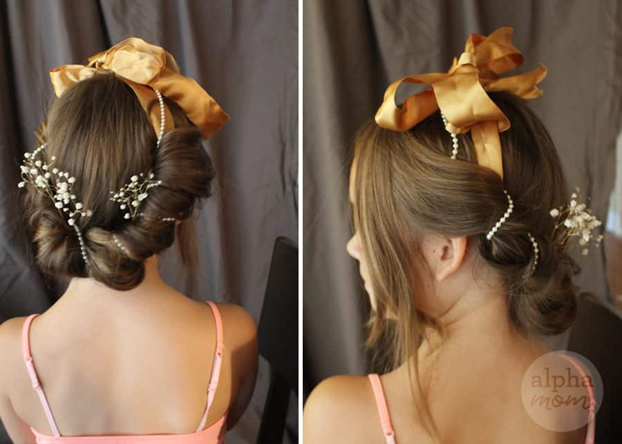 Five-Minute Kids' Holiday Fancy Up-Do Hair (add pearls & flowers) by Brenda Ponnay for Alphamom.com